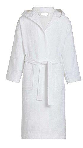 Goza Towels Kids Hooded Cotton Waffle Bathrobe (Small/Medium, White)