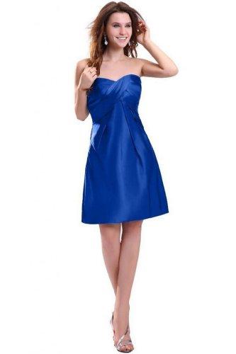 Ma Chérie Empire De Dearta Femmes Genou Longueur Robes De Demoiselle D'honneur En Taffetas Bleu Royal
