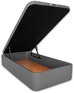 Ventadecolchones - Canapé Abatible Serena Gran Capacidad Tapizado en Polipiel Gris Medidas 105 x 180 cm en Tejido 3D