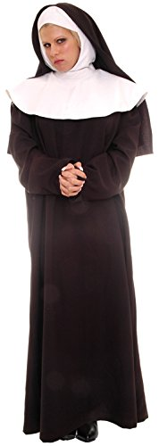 Underwraps Women's Mother Superior, Black/White, -