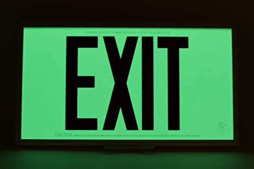 Glow in The Dark Emergency EXIT Signs. Non Electric UL Listed. Industrial Grade. Photo Luminescent. (75 Feet Red, Black Frame & Ceiling Mount) by Elasco Products (Image #3)