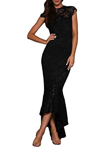 Arainlo Womens Sexy Short Sleeve Bardot Lace Embroidered Wedding Dress Fishtail Evening Maxi Long Gown Black M