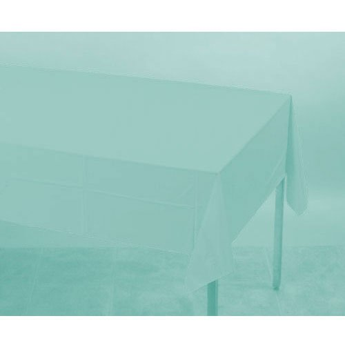 Robin Egg Blue Teal Plastic Table Cover 108 x 54 In -