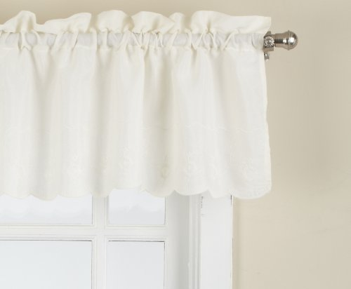 LORRAINE HOME FASHIONS Candlewick Tailored Valance, 60 by 12-Inch, Cream - Swag Cotton Floral
