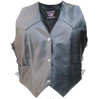 Ladies Lambskin Leather Basic Motorcycle Vest w/ Side Laces