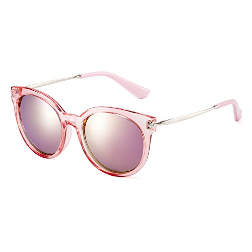 CAXMAN Women's Cateye Frame Retro Style Polarized Sunglasses Mirror Lenses (Pink Mirror Lens/Transparent Pink Frame, - Asian For Sunglasses