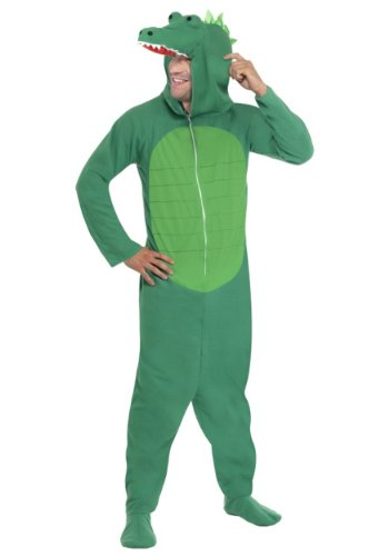 Crocodile Costumes Adult (Smiffy's Men's Crocodile Costume All In One with Hood, Green, Large)
