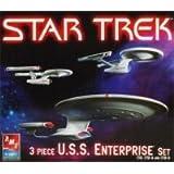Star Trek 3 Piece U.S.S. Enterprise Set 1701, 1701-A, and 1701-D Scale Models Skill 2