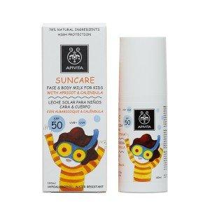 Apivita Face & Body Milk 100ml for Kids Spf50 with Apricot & Calendula / 3.41oz