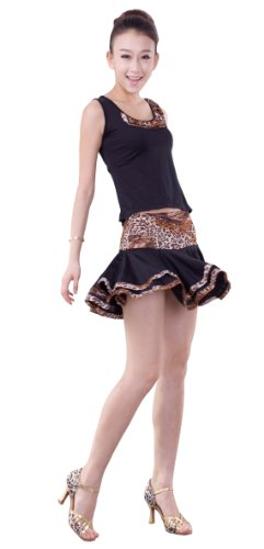 Pobofashion NEW Latin Salsa Cha Cha Tango Turniertanzkleid-Oberteil+Rock schwarz+Leopard