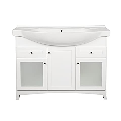 RONBOW Adara 47 Inch Bathroom Vanity Set in White, Space Saver Cabinet with Two Frosted glass doors, One Wood Door and Two Drawers, Ceramic Sinktop with 8 Inch Widespread - Mirrored Set China Cabinet