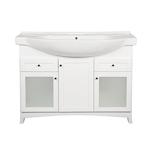 RONBOW Adara 47 Inch Bathroom Vanity Set in White, Space Saver Cabinet with Two Frosted glass doors, One Wood Door and Two Drawers, Ceramic Sinktop with 8 Inch Widespread (Four Drawers Double Sink Vanity)