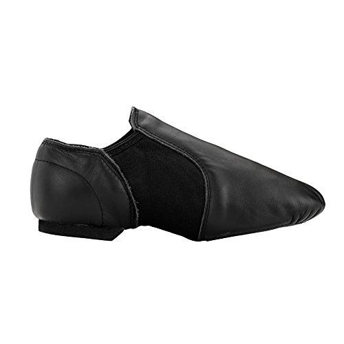 Msmax Volwassen Lederen Jazzdansschoenen Zwart