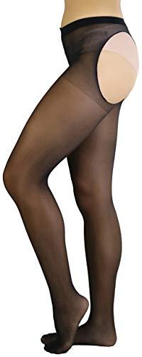 (ToBeInStyle Women's Cheeky Thong Back Sheer Pantyhose - Black)