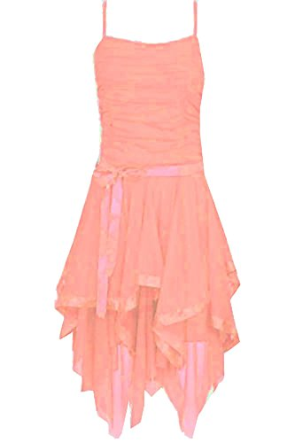 Dress Coral Evening Asymmetric Dress 21FASHION Ruched Ladies Womens UK Party 14 Prom 8 Chiffon Strappy vww8B6qgn