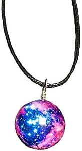 عقد بتصميم كوني للمجرة والفضاء وسديم النجوم صيفي رائع حالم عقود بدلايات كروية من الزجاج هدية للنساء والبنات