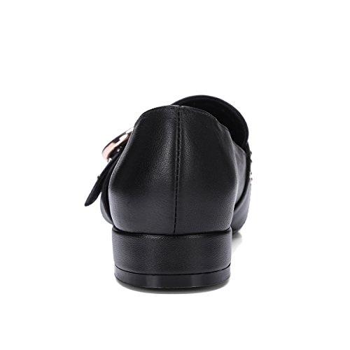 Verocara Kvinna Äkta Läder Lägenheter Mode Nit Pump Skor Svart Läder-plysch Foder