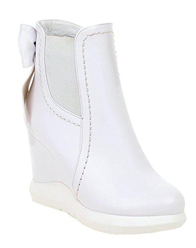 YE Damen Wedges Keilabsatz Stiefeletten High Heels Plateau mit Weiße Sohle Schleife Hinten 9cm Absatz Reißverschluss Ankle Boots Weiß