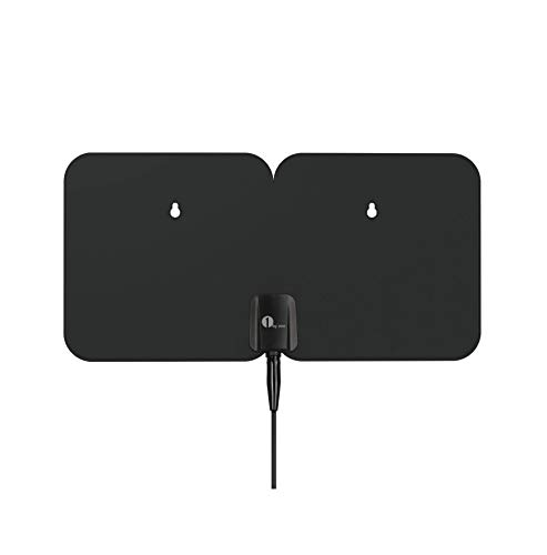 HDTV Antenna, 1byone Indoor/Outdoor Amplified Digital TV Antenna-Weather Resistant Support UHF/VHF/1080P HD Freeview Channels, 26 Feet Coaxial Cable (Black) (Digital Antenna For Tv Outdoor)