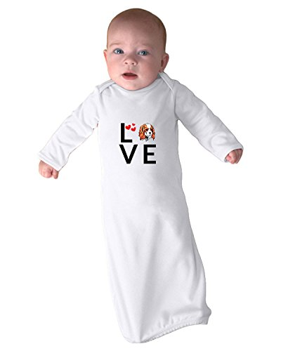 King Of Hearts Robe (CAVALIER KING CHARLES SPANIEL DOG Love Hearts Baby Rib Layette Sleeping Gown White)
