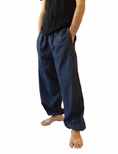 Baggy Pants Men's One Size Cotton Harem Pants Hippie Boho Trousers (Navy Blue)