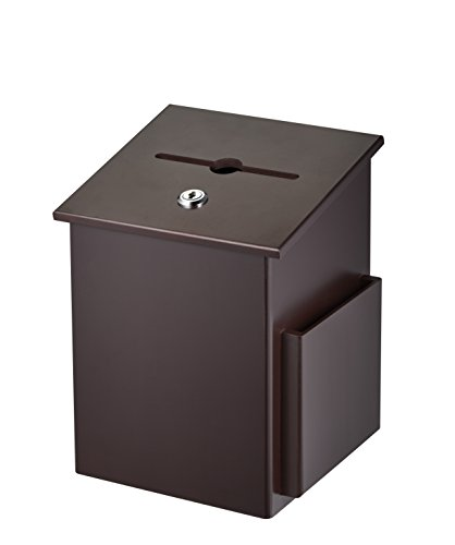 - AdirOffice Square Wood Suggestion Box - Wall Mountable - with Lock & Chained Pen - Donation, Collection, Ballot, Key Drop, (Mahogany)