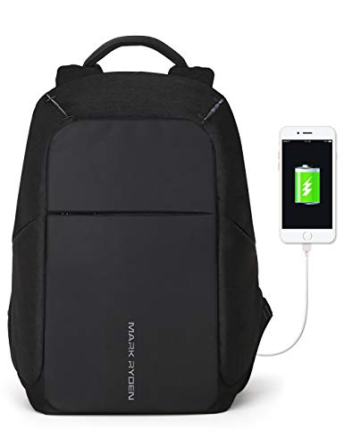 (Markryden Anti-theft Laptop Backpack  Business Bags with USB Charging Port School Travel Pack Fits Under 15.6 Inch Laptop (Black 2.1))