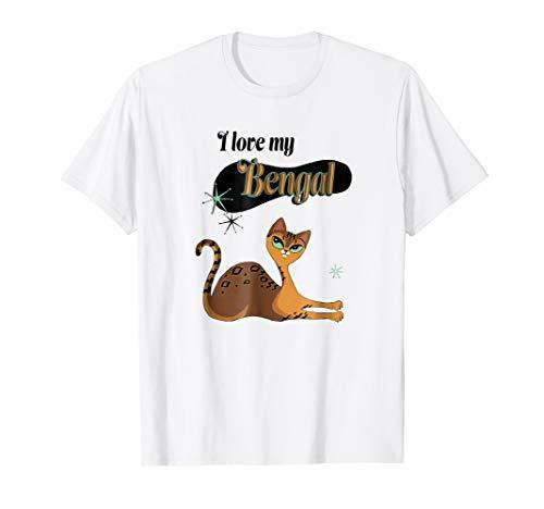 I Love My Bengal Cat T-Shirt mid century retro kitty