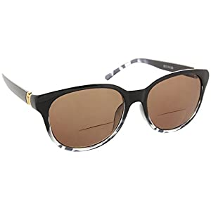 Womens Bifocal Sun Reader Sunglasses Fashion Trendy Readers Reading Glasses [Black/Leopard, 2.50]