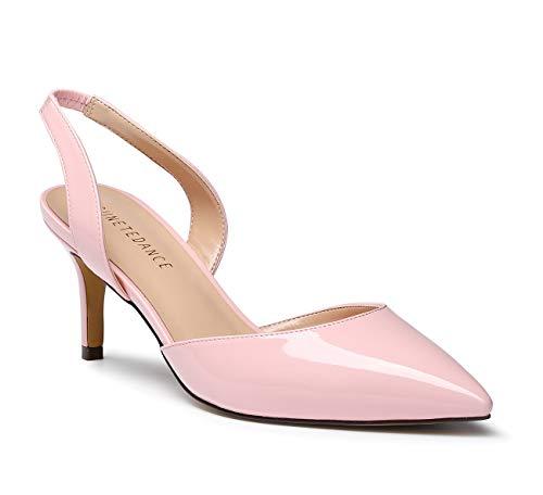 SUNETEDANCE Women's Slingback Pumps Pointed Toe Kitten Heels Slip On Stiletto Sandals Ankle Strap Shoes 6CM Heels Patent Pink Pump 8 M - Pink Slingback