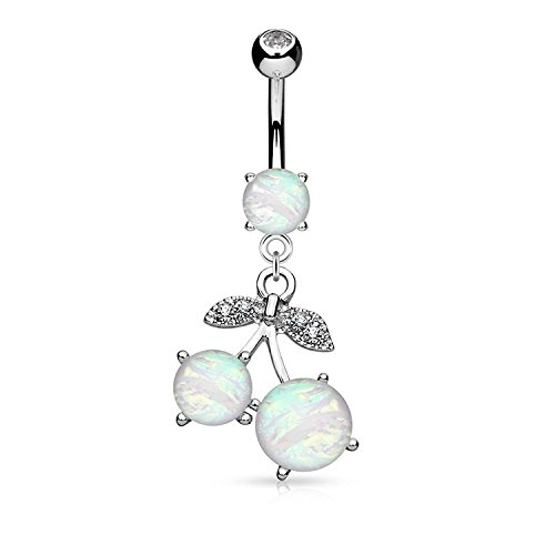 - Covet Jewelry Opal Glitter Set Cherry Dangle Surgical Steel Belly Button Navel Rings