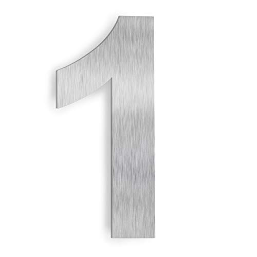 "Barton 6"" House Letter Number Silver Solid Stainless Steel Satin Finishing Floating House Home Number (Number 1)"