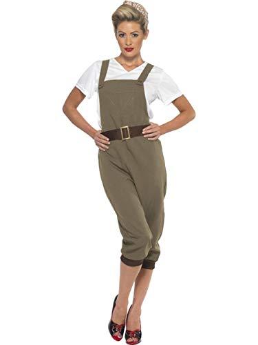 Fest Threads 3 PC Women's WWII Land Farmer Lady Top & Khaki Overalls w/Headscarf Costume ()