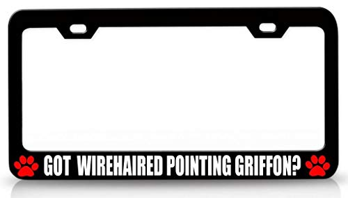 Customola - GOT Wirehaired Pointing Griffon Pet Steel Metal License Plate Frame Bl