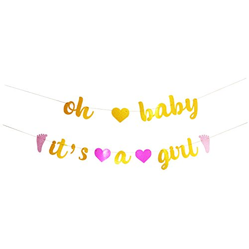 GOER Baby Shower Banner,No DIY Required oh baby it's a girl Gold and Pink Glitter Garland Photo Props for Baby Shower Party Decorations,Total Length 122 Inch - Girl Banner