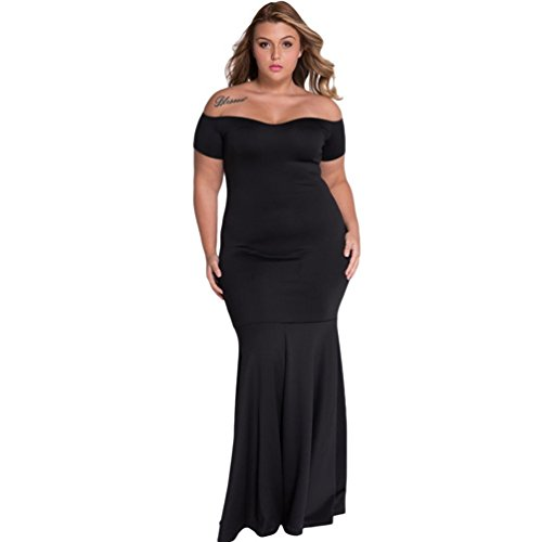 [Christmas TomYork Black Plus Size Off Shoulder Fishtail Maxi Dress(Size,3XL)] (Witch Coustumes)