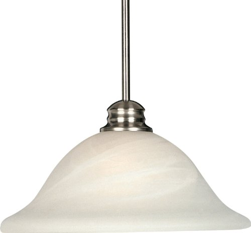 - Maxim 91061MRSN Essentials 1-Light Pendant, Satin Nickel Finish, Marble Glass, MB Incandescent Incandescent Bulb , 100W Max., Dry Safety Rating, Standard Dimmable, Glass Shade Material, 10350 Rated Lumens