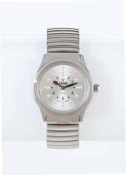 Braille Watch - Silver Face - Silver Expansion Band, (LADIES) by Divine medical