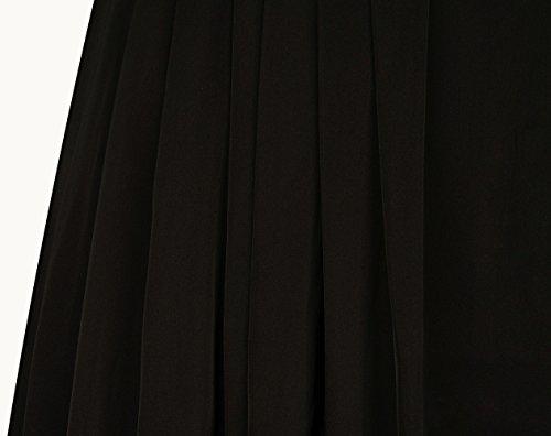Partito Divisi Da Angelo E Volant Vestito Pizzo Maniche Di Delle Cascata A Mezzo Donne Nero mode OP6IRInqwx