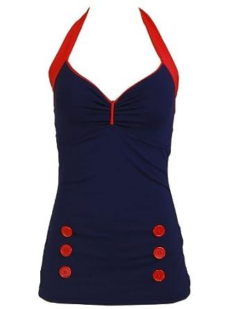 Navy Blue Retro Pin up Rockabilly Sailor Nautical Swimsuit