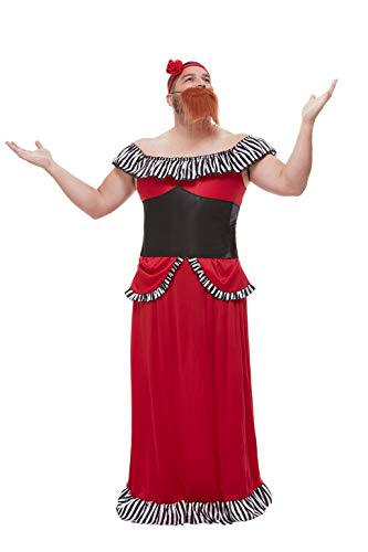Bearded Woman Costume (Smiffys 50806L Bearded Lady Costume, Men, Red, L - Size)