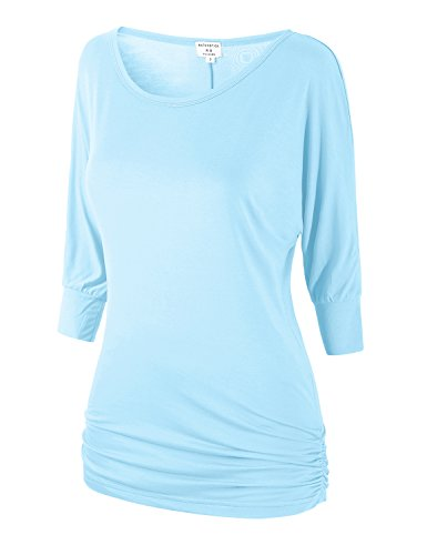 - Match Women's 3/4 Sleeve Drape Top with Side Shirring (140 Light Blue,XX-Large)