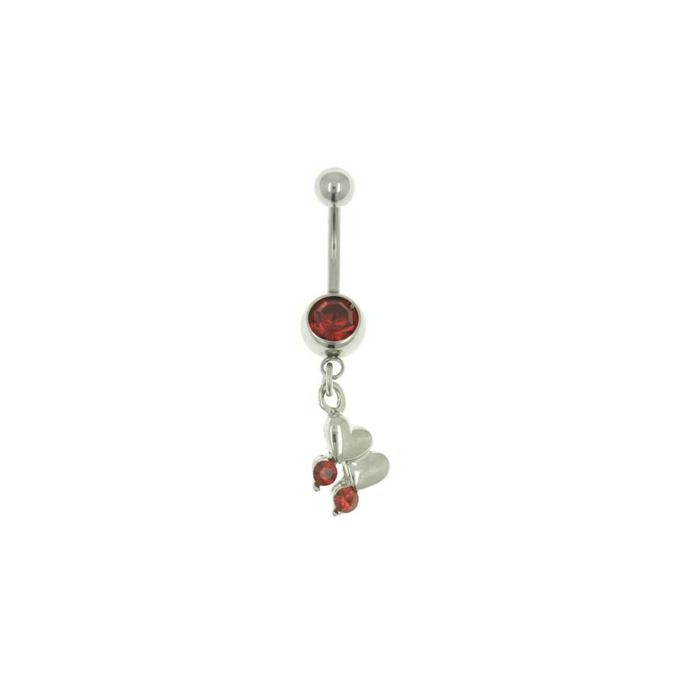 Pugster 316l Surgical Steel Red Double Heart Dangle January Gem Belly Button Ring Navel Piercing Bar Body Jewelry Jewelry