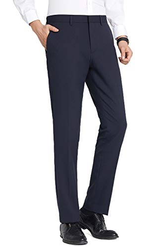 32 Inch Inseam Trouser Pant - FLY HAWK Mens Tuxedo Slim Fit Business Wedding Office Suit Pants Workout Pants for Men, Navy Blue Dress Pants 32x32 Inseam 32