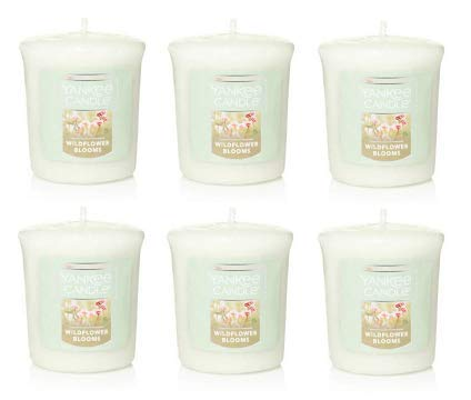 Yankee Candle Lot of 6 Wildflower Blossoms Samplers Votive Candles 1.75 Oz. Each.