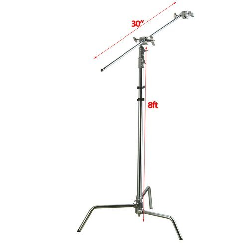 ePhoto 8ft Photo C Stand Video Studio Photography Century Stand Kit with 2pcs Grip Head, 30'' Arm 8ft Stand and base FS9102A by ePhotoinc
