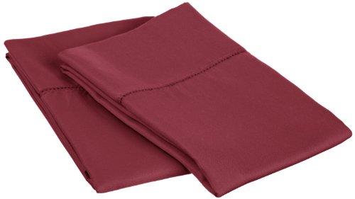 - Cotton Blend 600 Thread Count, Soft, Wrinkle Resistant 2-Piece Standard Pillowcase Set, Classic Hemstitch Wine