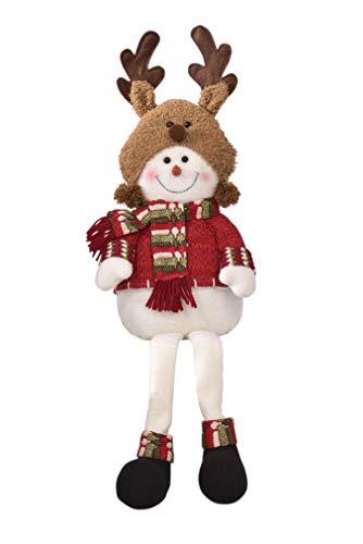 Reindeer Hat Craft - Gift Craft Reindeer Hat Snowman Plushie 21 Inch Knit Polyester Shelf Sitting Christmas Figurine