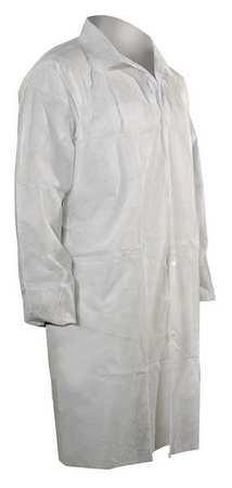 Disp Lab Coat, Polypropylene, White, M, PK25