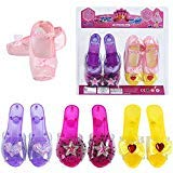 fedio Girls Princess Dress up Shoes 4 Pairs Role Play Collection Play Shoes Set for Little Girls Age 3-6 Years (4 Pairs)]()